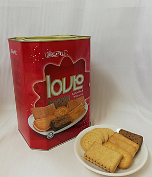 6 X 600gm Love Assorted Biscuit (Castle Brand)   Net Weight : 600 gm per Packet   Carton Size : 450 x 345 x 235